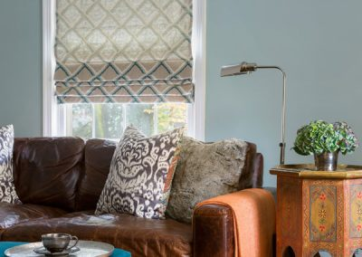 A modern classic colonial, leather sofa, comfy cushions,